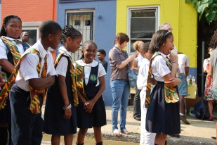 Dedicating the community mural, 3800 block of Melon Street, Philadelphia. Photo by Steve Weinik.