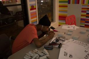 Farris Bey preparing for printing, Photo by Weiyi (Dawn) Cai