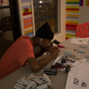 Farris Bey preparing for printing, Photo by Weiyi (Dawn) Cai