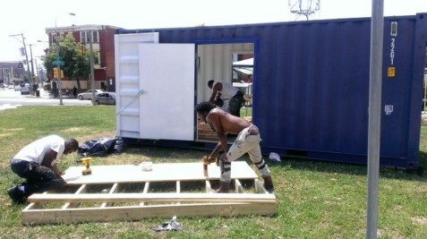 Construction of journey2home Shipping Container Mobile Gathering Space